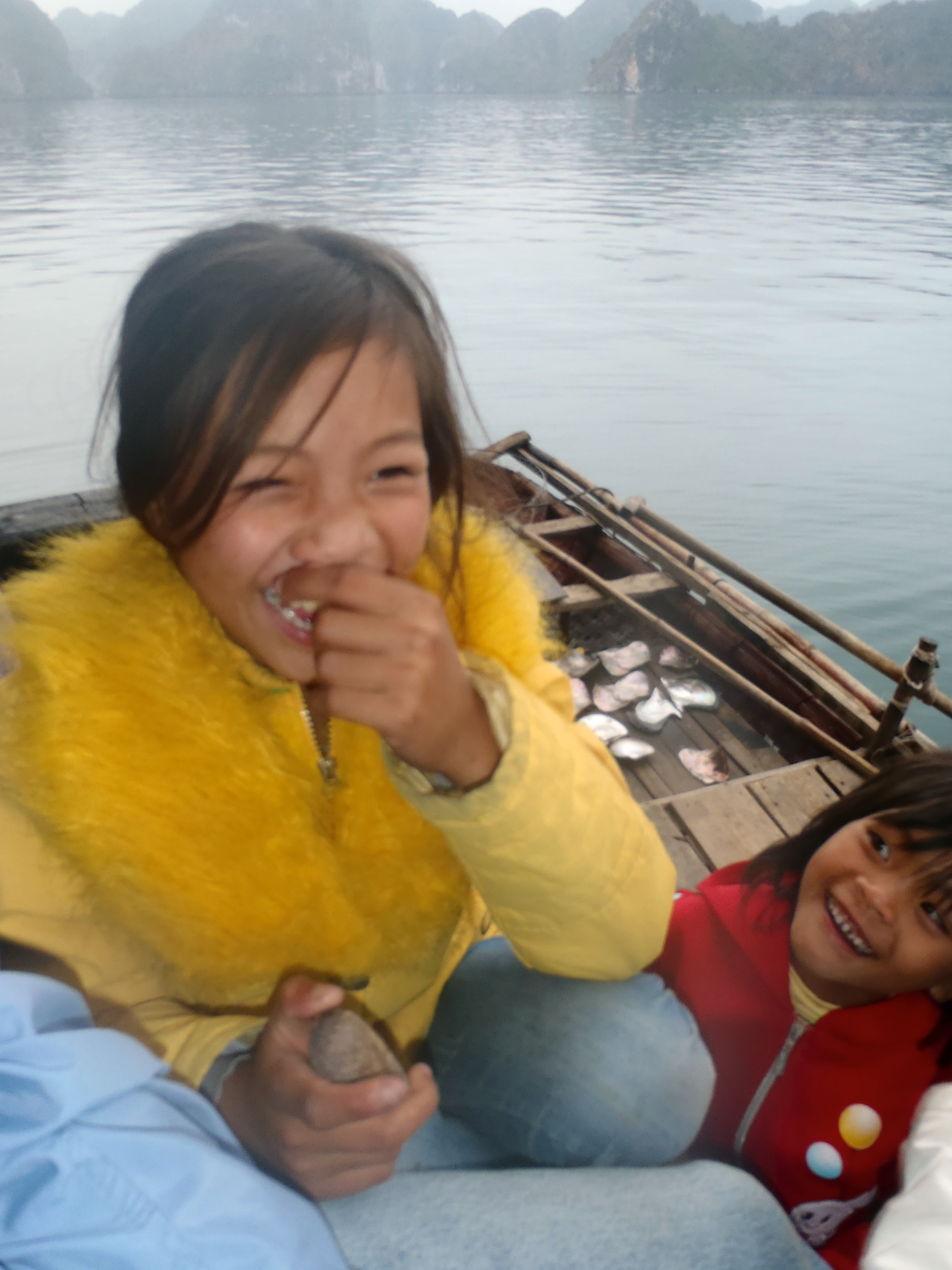 In Ha Long Bay, enjoying the company of children laughing and giggling...